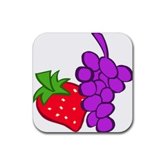 Fruit Grapes Strawberries Red Green Purple Rubber Square Coaster (4 Pack)  by Alisyart