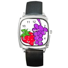Fruit Grapes Strawberries Red Green Purple Square Metal Watch by Alisyart