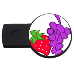 Fruit Grapes Strawberries Red Green Purple Usb Flash Drive Round (4 Gb) by Alisyart