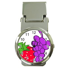 Fruit Grapes Strawberries Red Green Purple Money Clip Watches by Alisyart