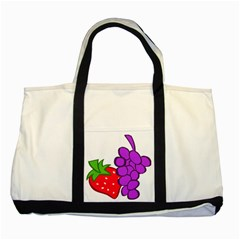 Fruit Grapes Strawberries Red Green Purple Two Tone Tote Bag by Alisyart