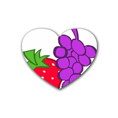 Fruit Grapes Strawberries Red Green Purple Rubber Coaster (heart)  by Alisyart