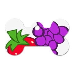 Fruit Grapes Strawberries Red Green Purple Dog Tag Bone (one Side) by Alisyart