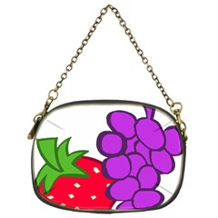 Fruit Grapes Strawberries Red Green Purple Chain Purses (one Side)  by Alisyart