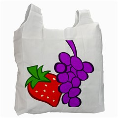 Fruit Grapes Strawberries Red Green Purple Recycle Bag (one Side) by Alisyart
