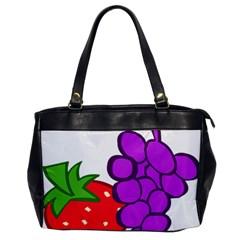 Fruit Grapes Strawberries Red Green Purple Office Handbags by Alisyart