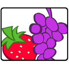 Fruit Grapes Strawberries Red Green Purple Fleece Blanket (medium)  by Alisyart