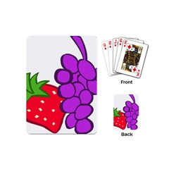 Fruit Grapes Strawberries Red Green Purple Playing Cards (mini)  by Alisyart