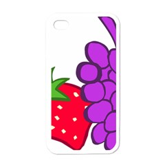Fruit Grapes Strawberries Red Green Purple Apple Iphone 4 Case (white) by Alisyart