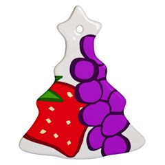 Fruit Grapes Strawberries Red Green Purple Ornament (christmas Tree)  by Alisyart