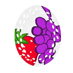 Fruit Grapes Strawberries Red Green Purple Ornament (oval Filigree) by Alisyart
