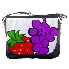 Fruit Grapes Strawberries Red Green Purple Messenger Bags by Alisyart