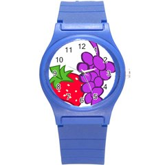 Fruit Grapes Strawberries Red Green Purple Round Plastic Sport Watch (s) by Alisyart