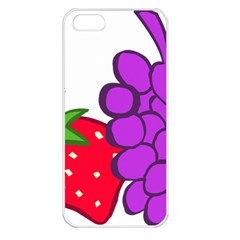 Fruit Grapes Strawberries Red Green Purple Apple Iphone 5 Seamless Case (white)