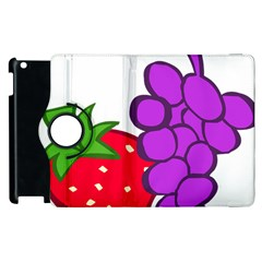 Fruit Grapes Strawberries Red Green Purple Apple Ipad 3/4 Flip 360 Case by Alisyart