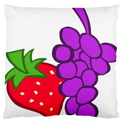 Fruit Grapes Strawberries Red Green Purple Standard Flano Cushion Case (one Side) by Alisyart