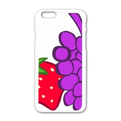 Fruit Grapes Strawberries Red Green Purple Apple Iphone 6/6s White Enamel Case by Alisyart