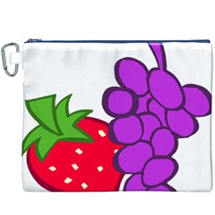 Fruit Grapes Strawberries Red Green Purple Canvas Cosmetic Bag (xxxl) by Alisyart