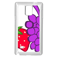 Fruit Grapes Strawberries Red Green Purple Samsung Galaxy Note 4 Case (white) by Alisyart