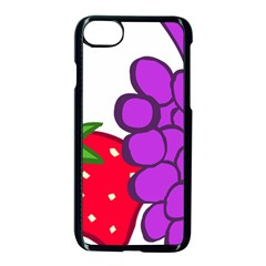 Fruit Grapes Strawberries Red Green Purple Apple Iphone 7 Seamless Case (black) by Alisyart