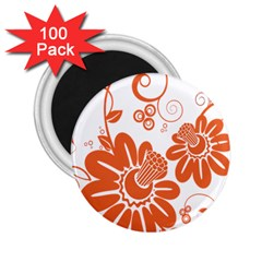 Floral Rose Orange Flower 2 25  Magnets (100 Pack)  by Alisyart