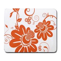 Floral Rose Orange Flower Large Mousepads by Alisyart