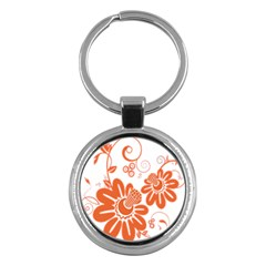 Floral Rose Orange Flower Key Chains (round)  by Alisyart
