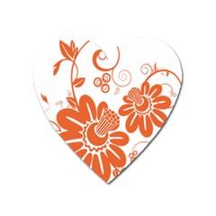 Floral Rose Orange Flower Heart Magnet by Alisyart