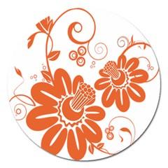 Floral Rose Orange Flower Magnet 5  (round) by Alisyart