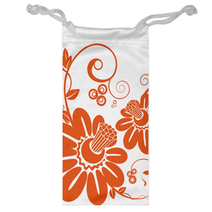 Floral Rose Orange Flower Jewelry Bag
