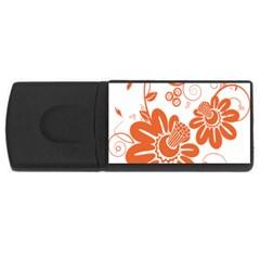 Floral Rose Orange Flower Usb Flash Drive Rectangular (4 Gb) by Alisyart