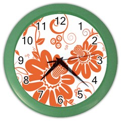 Floral Rose Orange Flower Color Wall Clocks by Alisyart
