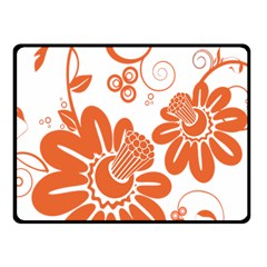 Floral Rose Orange Flower Fleece Blanket (small) by Alisyart