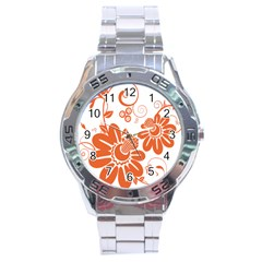Floral Rose Orange Flower Stainless Steel Analogue Watch by Alisyart