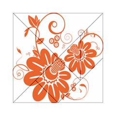 Floral Rose Orange Flower Acrylic Tangram Puzzle (6  X 6 ) by Alisyart