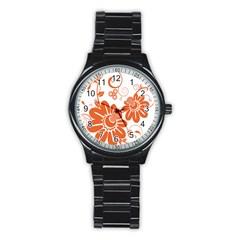Floral Rose Orange Flower Stainless Steel Round Watch by Alisyart