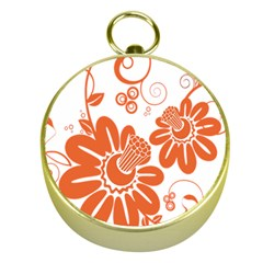 Floral Rose Orange Flower Gold Compasses by Alisyart