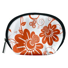 Floral Rose Orange Flower Accessory Pouches (medium)  by Alisyart