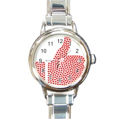 Heart Love Valentines Day Red Sign Round Italian Charm Watch by Alisyart