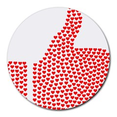 Heart Love Valentines Day Red Sign Round Mousepads by Alisyart