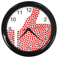 Heart Love Valentines Day Red Sign Wall Clocks (black) by Alisyart