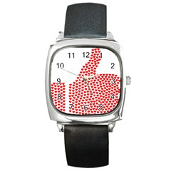 Heart Love Valentines Day Red Sign Square Metal Watch by Alisyart