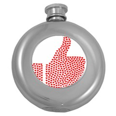 Heart Love Valentines Day Red Sign Round Hip Flask (5 Oz) by Alisyart