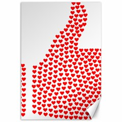 Heart Love Valentines Day Red Sign Canvas 12  X 18   by Alisyart