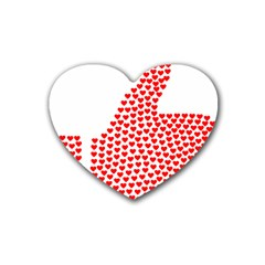 Heart Love Valentines Day Red Sign Heart Coaster (4 Pack)  by Alisyart