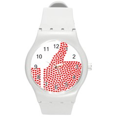 Heart Love Valentines Day Red Sign Round Plastic Sport Watch (m) by Alisyart