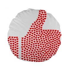 Heart Love Valentines Day Red Sign Standard 15  Premium Flano Round Cushions by Alisyart