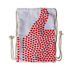 Heart Love Valentines Day Red Sign Drawstring Bag (small) by Alisyart