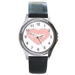 Love Valentines Heart Pink Round Metal Watch by Alisyart
