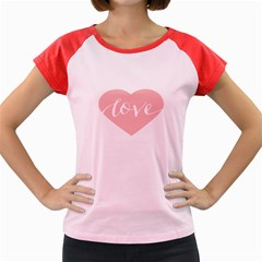 Love Valentines Heart Pink Women s Cap Sleeve T Shirt by Alisyart